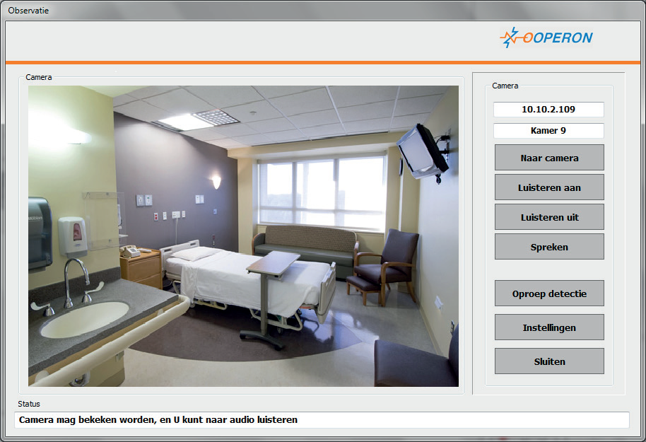 ziekenhuiskamer met IP EYE valdetectie middels sensoren